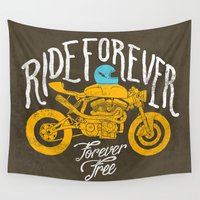 motorbike Wall Tapestries featuring forever by The Junkers