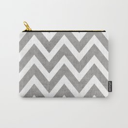 gray chevron Carry-All Pouch