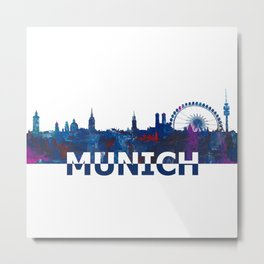 Munich Bavaria Skyline Silhouette Strong with Text Metal Print
