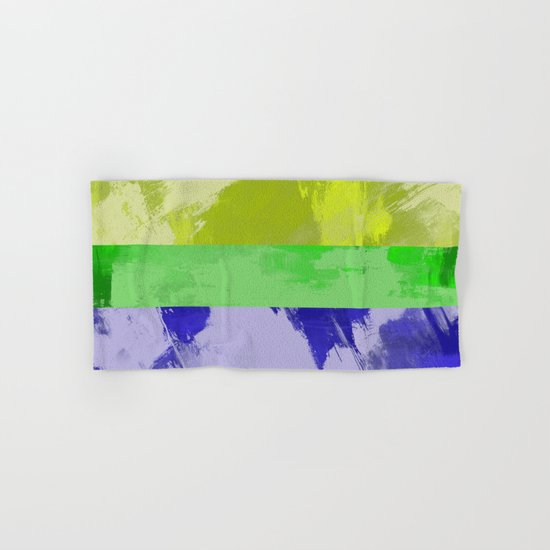 Rainbow Stripes - Abstract, textured, red, orange, yellow, green, blue, indigo, violet artwork Hand & Bath Towel