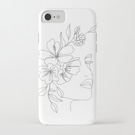 Minimal Line Art Woman Face II iPhone Case