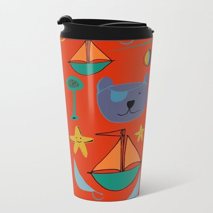 cat and bear pirate red Metal Travel Mug