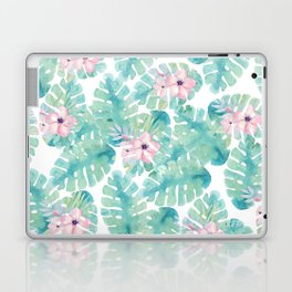 Modern summer tropical blush pink green watercolor floral Laptop & iPad Skin