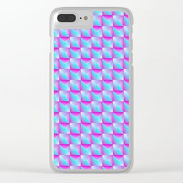 Pyromidal pattern of blue squares and pink striped triangles. Clear iPhone Case