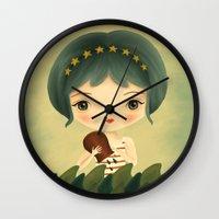 aquarius Wall Clocks featuring Aquarius by The Midnight Rabbit