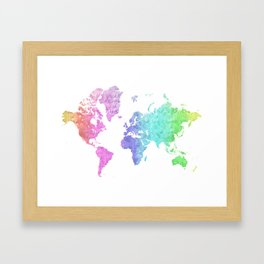 """Rainbow world map in watercolor style """"Jude"""" Framed Art Print"""