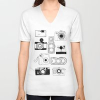 cameras V-neck T-shirts featuring Cameras by lusym