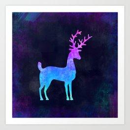 DEER CHILLING IN SPACE // Animal Graphic Art // Watercolor Canvas Painting // Modern Minimal Cute Art Print