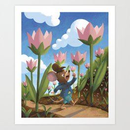 Happy Chap Mouse Art Print
