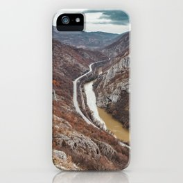 Beautiful picture of the canyon in Serbia, with river and the highway in the middle iPhone Case