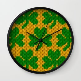 Shamrock pattern - orange, green Wall Clock