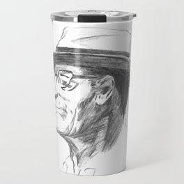 Drawing 4 Fun, My Personal Practice Charcoal Drawing of Old Man Travel Mug