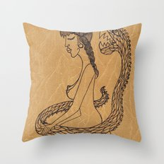 SnakeGirl Throw Pillow