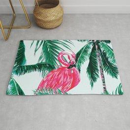 pink flamingo green palm tree Rug