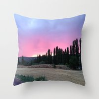 madrid Throw Pillows featuring atardecer Madrid by Maritserg
