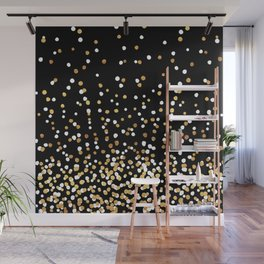 Floating Dots - White and Gold on Black Wall Mural