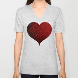 Cracked Red Heart Valentines Day Design Unisex V-Neck