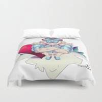 snowboard Duvet Covers featuring Snowboard Yeti by garciarts