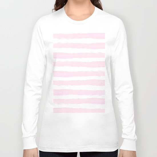 Pink handpainted stripes on clear white Long Sleeve T-shirt