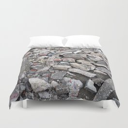 broken urban grey concrete bricks photo texture Duvet Cover