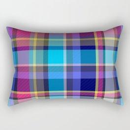 Navy, blue & Pink Tartan Plaid Rectangular Pillow