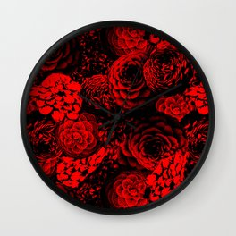 Moody Florals in Red Wall Clock