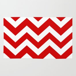 Rosso corsa - red color - Zigzag Chevron Pattern Rug