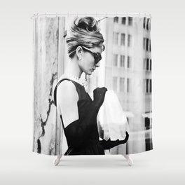 Audrey Hepburn Vintage Black and White Art Shower Curtain