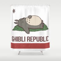 ghibli Shower Curtains featuring Ghibli Republic by Li.Ro.Vi