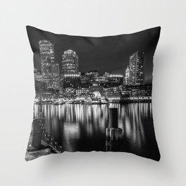 BOSTON Fan Pier Park & Skyline at night | monochrome Throw Pillow
