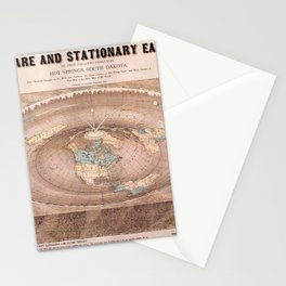 MAP OF THE SQUARE AND STATIONARY EARTH Stationery Cards