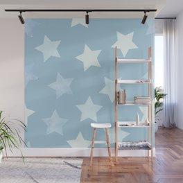 sweet pastel sky denim blue colors stars pattern Wall Mural