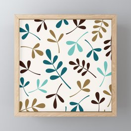 Assorted Leaf Silhouettes Teals Brown Gold Cream Framed Mini Art Print