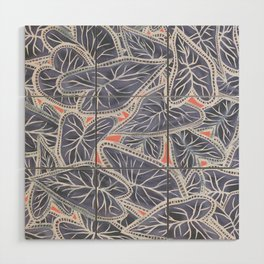 Tropical Caladium Leaves Pattern - Purple Gray Coral Wood Wall Art