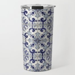 Portuguese tiles pattern blue Travel Mug