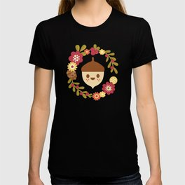 Acorn and Flowers / Blush Pink T-shirt