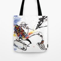 hunter s thompson Tote Bags featuring Hunter S Thompson by BINDU by BINDU