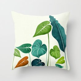 Rainforest Hike / tropical leaf collection Throw Pillow
