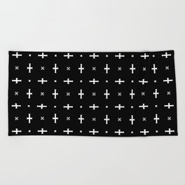 Black Cross Beach Towel