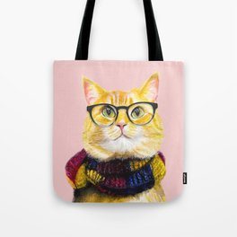 Bob the cat with glasses Tote Bag