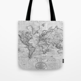 Black and White World Map (1801) Tote Bag