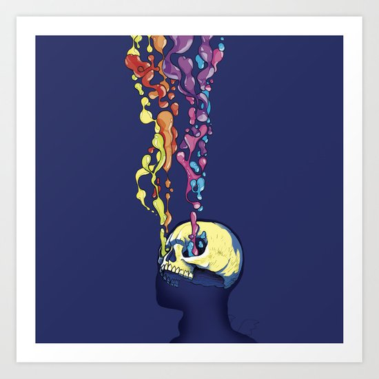 Skull Pepe Psyche Art Print