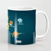 solar system Mugs featuring Solar System by Duck Duck Moose