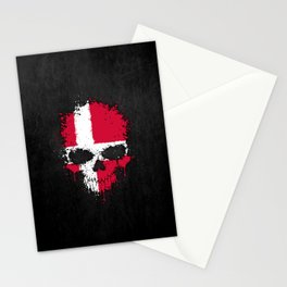 Flag of Denmark on a Chaotic Splatter Skull Stationery Cards