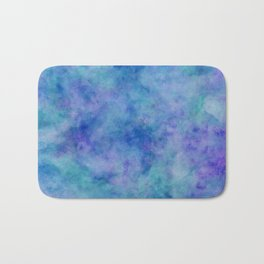 Bright Blue Watercolor Texture Bath Mat