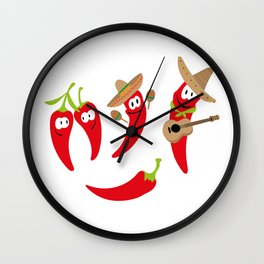 Hot peppers funny happy peppers month November Wall Clock