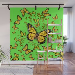 YELLOW BUTTERFLIES GREEN SUMMER ART Wall Mural