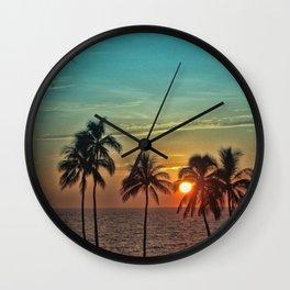Sunset at Mauna Kea Beach, Hawaii Teal Wall Clock