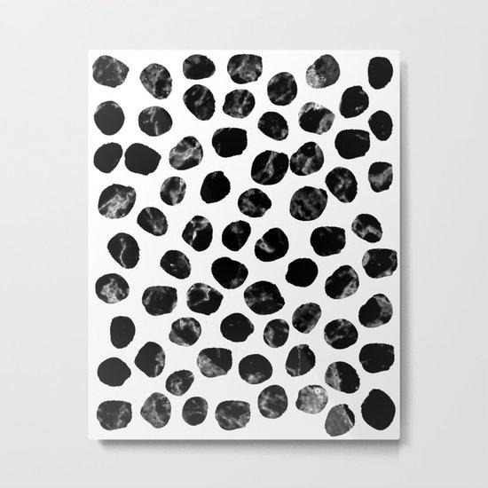 Jacson - minimal black and white modern abstract art print dots polka dots brushstrokes urban bklyn Metal Print