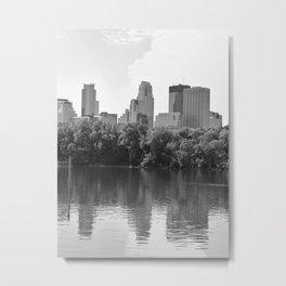 Minneapolis Minnesota Skyline Black and White River Metal Print